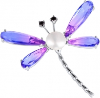 Sagė JwL Luxury Pearls Delightful brooch dragonfly with pearl and crystals JL0576 Piespraudes pakaramais