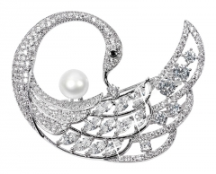 Sagė JwL Luxury Pearls Exclusive brooch brooch with true pearl and crystals 2in1 JL0518 Piespraudes pakaramais