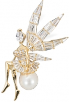 Sagė JwL Luxury Pearls Luxury glossy angel / fairy brooch with right pearl JL0448 Sagės rūbams
