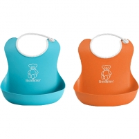 Seilinukas Soft Bib, Orange/Turquoise (2-pack)