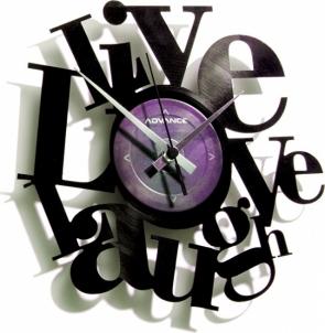 Sieninis laikrodis Discoclock 007 Live Love Laugh Interjero laikrodžiai