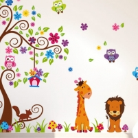 Sienos lipdukas Žirafos ir Liūto Medis, 160x200 cm Prekės namų interjerui