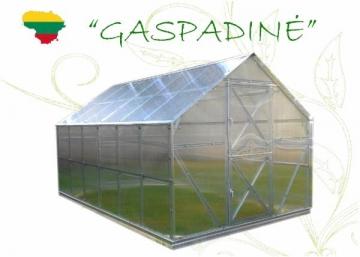 Greenhouse GASPADINĖ 6 x 2,64 x 2,42 (15,84m2) su 6 mm. polikarbonato danga Greenhouses