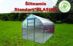 Greenhouse Standart KLASIKA 20 with substructure, 2,5x8 (20 m2) su 4 mm.polikarbonato danga