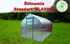 Šiltnamis Standart KLASIKA 25m2 (5 stoglangiai) 2,5x10 su 4 mm.polikarbonato danga Šiltnamiai