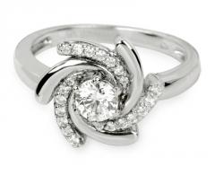Silver Cat sidabrinis žiedas su kristalu SC040 (Dydis: 58 mm) Žiedai