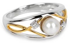 Silver Cat sidabrinis žiedas su perlu ir kristalais SC151 (Dydis: 54 mm) Žiedai