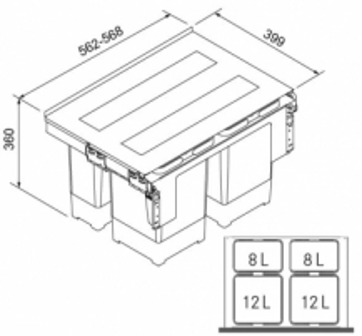 Šiukšliadėžė FRANKE Garbo 60-4 121.0200.676 Kitchen trash cans