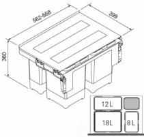 Šiukšliadėžė FRANKE Sorter GARBO 60-3, 18l.+12l.+8l. Kitchen trash cans