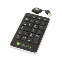 Skaičių klaviatūra Techly, USB, 23 mygtukai, suvyniojamas kabelis, juoda