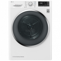 Washing machine LG Dryer mashine RC90U2AV2W Condensed, Heat pump, 9 kg, Energy efficiency class A+++, Number of programs 12, Self-cleaning, White, Wi-Fi, LED, Depth 69 cm,