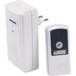 Skambutis durų bevielis, mait.: skambutis 230V AC, mygtukas 12V (komplekt.), veikia iki 60m, dažnis 433,92MHz Dubultā īpašam nolūkam savienotāji