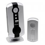 Skambutis durų bevielis, mait.: skambutis 2xAA(nekomplekt.), mygtukas 12V (komplekt.), veikia iki 120m Dubultā īpašam nolūkam savienotāji