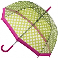 Skėtis Blooming Brollies Ladies Umbrella Clear Dome Stick Umbrella with Green Polka dots POES GP