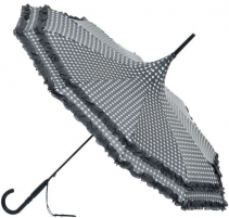 Skėtis Blooming Brollies Ladies umbrella Polka Pagoda with Frill Umbrella in Charcoal BCSFP CH1