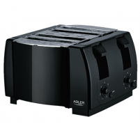 Skrudintuvas Adler Toaster AD 3211 Black, Plastic, 1300 W, Number of slots 4, Toasters, deep fryers