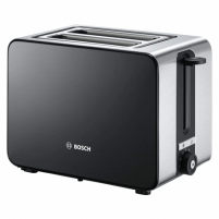 Skrudintuvas Bosch Toaster TAT7203 Black, 1050 W, Number of slots 2, Number of power levels 7, Bun warmer included Toasters, deep fryers