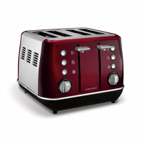 Skrudintuvas Morphy richards Evoke Toaster 240108 Power 1800 W, Number of slots 4, Housing material Stainless steel, Red with stainless steel Tosteri, fritieri