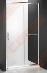 Slankiojančios dušo durys ROLTECHNIK PROXIMA LINE PXD2N/130, skirtos montuoti į nišą, su brillant spalvos profiliu ir šerkšnu padengtu stiklu