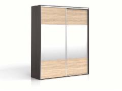 Cupboard with mirror F19 SZF2M/200 Wenge/oak sonoma