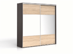 Cupboard with mirror F19 SZF2M/230 Wenge/oak sonoma Bedroom cabinets