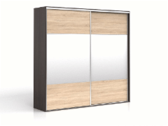 Cupboard with mirror F19 SZF2M/250 Wenge/oak sonoma