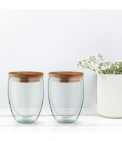 Stiklinių su dvigubomis sienelėmis rinkinys su dangteliais (2vnt.) 350ml. L19011 Glass
