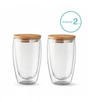 Stiklinių su dvigubomis sienelėmis rinkinys su dangteliais (2vnt.) 450ml. L19012 Glass