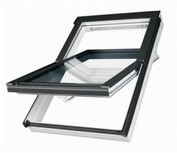 Stoglangis FAKRO PTP-V su stiklo paketu U3 ir V35 orlaide, 114x118 cm, PVC, baltas