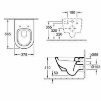 Subway 2.0 hanging toilet with soft close cover ir CP