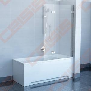 Sulankstoma dviejų dalių vonios sienelė RAVAK BVS2-100 su chromuotom detalėm ir skaidriu stiklu, dešinė pusė Душ стены