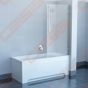 Sulankstoma vienos dalies stabili vonios sienelė RAVAK BVS1-80 su chromuotom detalėm ir skaidriu stiklu, dešinė pusė Dušo sienelės, durys
