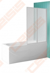 Sulankstoma vonios sienelė CH2/122 su baltos spalvos profiliu ir plastiko bark užpildu