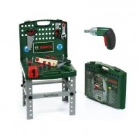 Sulankstomas vaikiškas darbastalis - lagaminas su elektriniu atsuktuvu ir priedais | Bosch | Klein Žaislai berniukams