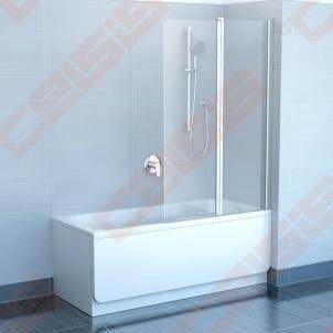Sulenkiama dviejų dalių vonios sienelė CVS2-100 su blizgiu profiliu ir skaidriu stiklu, kairė pusė
