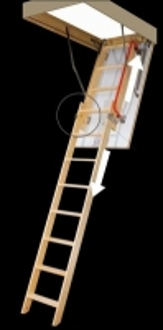 Divu sekciju bēniņu kāpnes ar bīdāmo apakšējā daļā FAKRO LDK 70x140x335 (koka kāpnes) Kāpnēm