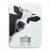 Svarstyklės ADE Kitchen Scale KE 1603 INKA Maximum weight (capacity) 5 kg, Graduation 1 g, Display type LCD, Cow print Buitinės svarstyklės