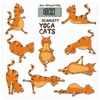 Svarstyklės Scarlett Bathroom scales SC - BS33E077 Maximum weight (capacity) 180 kg, Accuracy 100 g, Multiple user(s), Yoga cats Buitinės svarstyklės