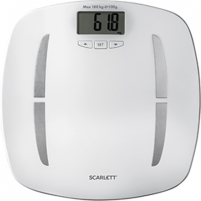 Svarstyklės Scarlett Bathroom scales SC - BS33ED80 Maximum weight (capacity) 180 kg, Accuracy 100 g, Memory function, 12 user(s), White