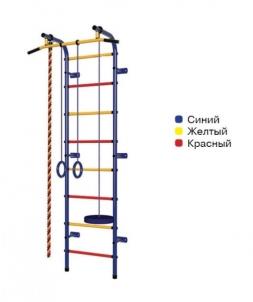 Švediška gimnastikos sienelė Pioner-C1H, mėlyna/raudona/geltona