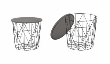 Svetainės staliukas MARIFFA pilka/juoda