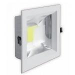 Šviestuvas LED, 10W, įleidžiamas, kvadratinis, baltas, su skaidriu stiklu, 165x165x50, COB, 4500K, 900lm, GTV LD-COB10K-40