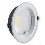 Šviestuvas LED, 20W, įleidžiamas, apvalus, baltas, su skaidriu stiklu, diametras 190mm, COB, 4500K, 1800lm, GTV LD-COB20W-40