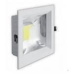 Šviestuvas LED, 20W, įleidžiamas, kvadratinis, baltas, su skaidriu stiklu, 190x190x60, COB, 4500K, 1800lm, GTV LD-COB20K-40