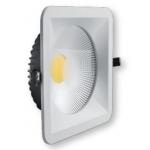 Šviestuvas LED, 30W, įleidžiamas, kvadratinis, baltas, su skaidriu stiklu, 220x220x70, COB, 4500K, 2700lm, GTV LD-COB30K-40