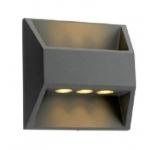 Šviestuvas sodo LED, 7,5W, 3000K, IP54, AC 230V, 260lm, tvirt. prie sienos, pilkas, LAMPRIX LP-14-002