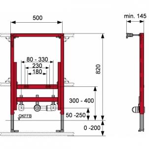 Tece universalus bidė modulis, 82cm Nuleidimo sistemos