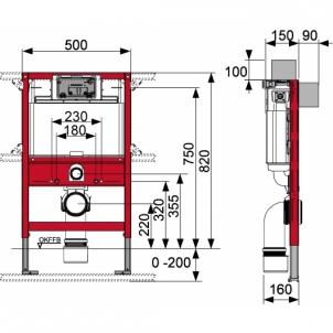Tece universalus wc modulis, 82cm Nuleidimo sistemos