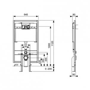 Tece wc modulis, 112cm, 8cm storio Nuleidimo sistemos