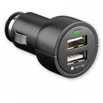 Techly Automobilinis USB įkroviklis 5V 3.1A, 12/24V, du USB prievadai, juodas